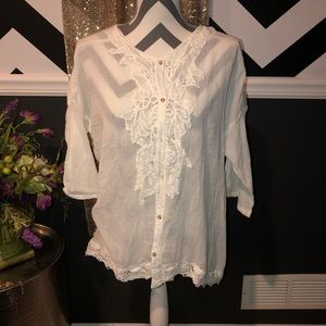 NEW-XCVI White Crochet Lace Top/Blouse-SMALL